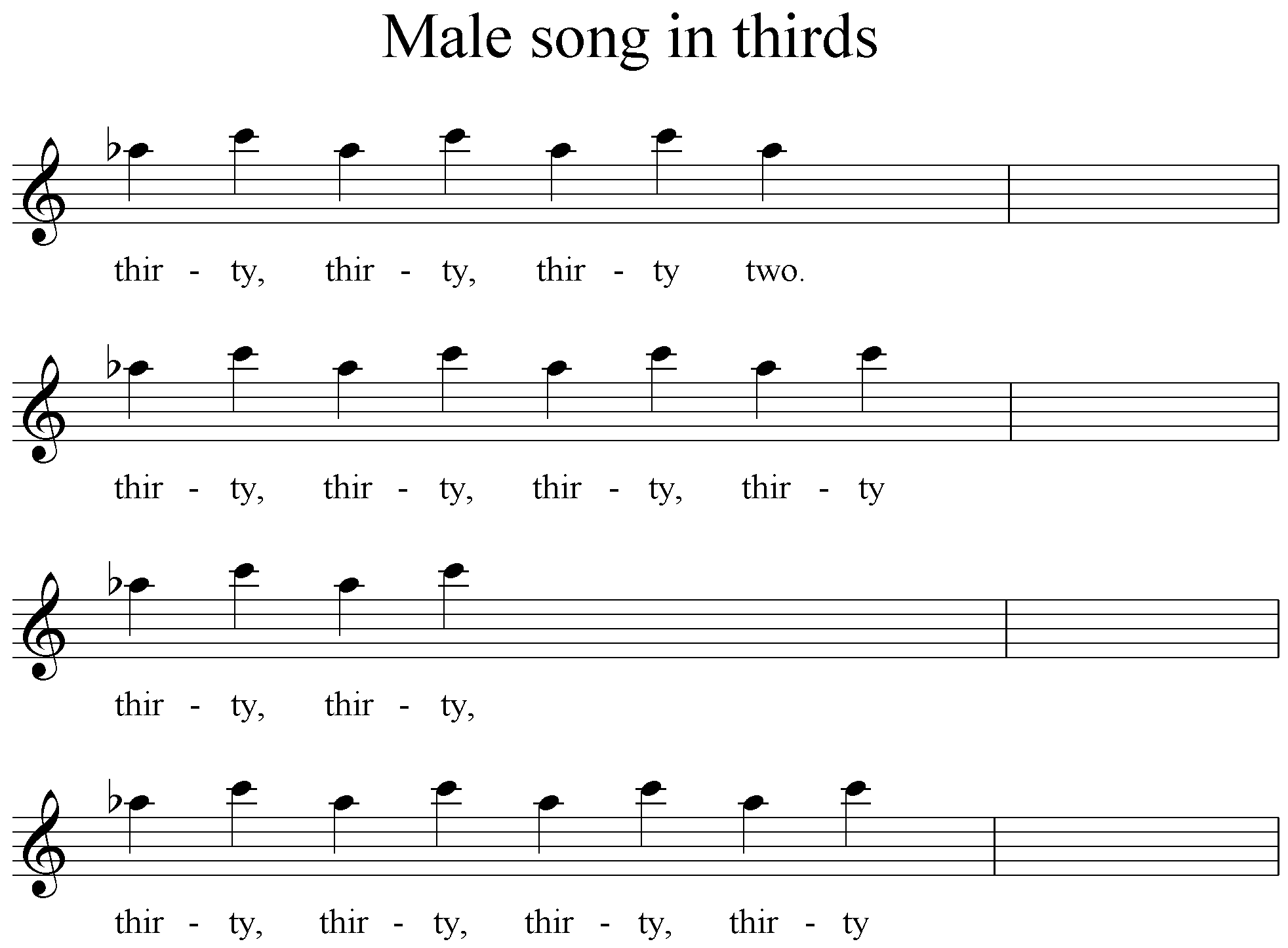 Figure 4 - simplest form of song in thirds
